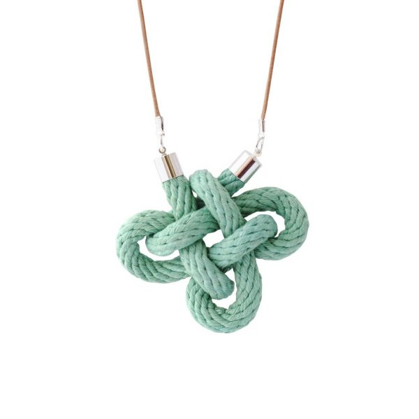 Sea Glass Charmed Knot Necklace