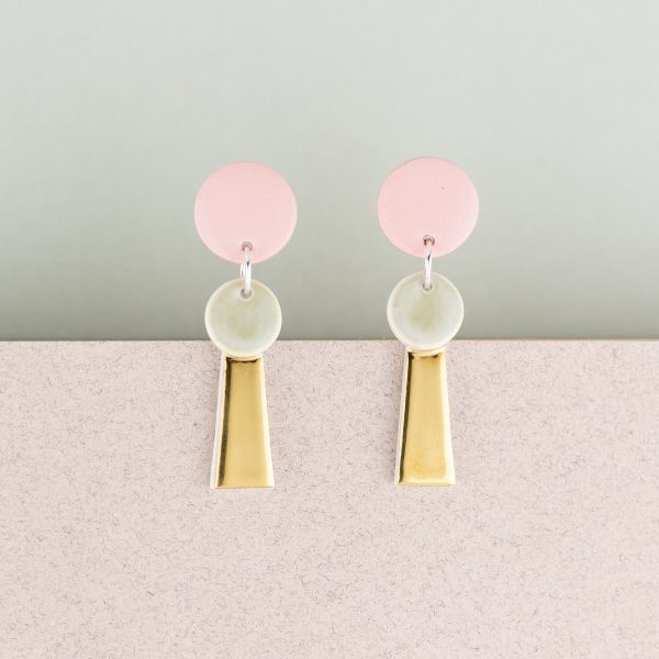 Erin Lightfoot - Pink & Gold Small Porcelain Tassel Earring