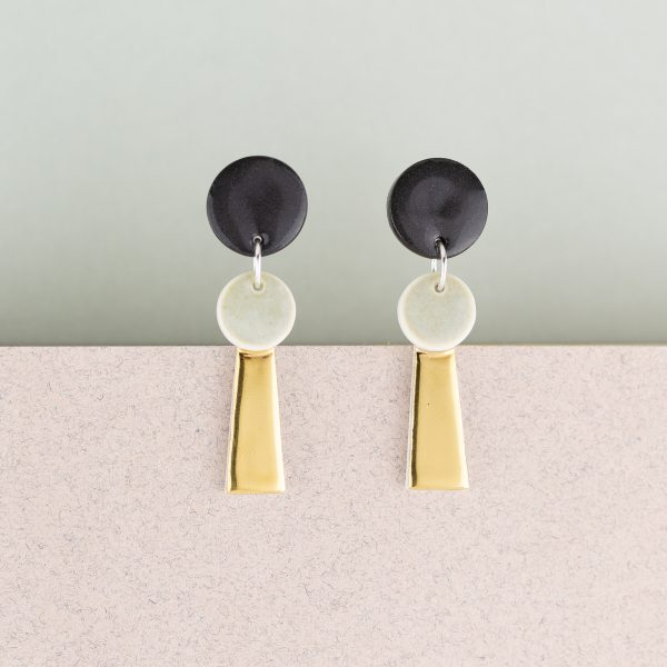 Erin Lightfoot - Black & Gold Small Porcelain Tassel Earrings